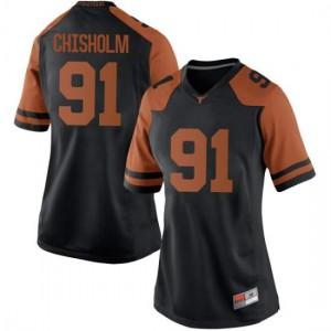 Women Texas Longhorns Jamari Chisholm #91 Replica Black Football Jersey 967907-614