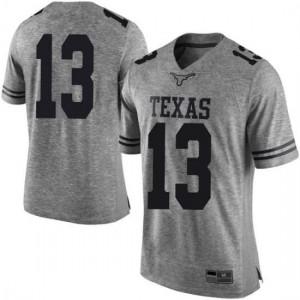 Men Texas Longhorns Jase Febres #13 Limited Gray Football Jersey 306579-838