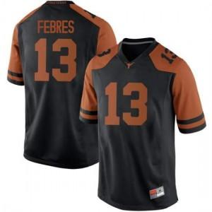 Men Texas Longhorns Jase Febres #13 Replica Black Football Jersey 503338-555