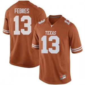 Men Texas Longhorns Jase Febres #13 Replica Orange Football Jersey 243376-251