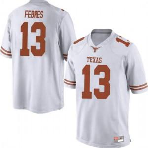 Men Texas Longhorns Jase Febres #13 Replica White Football Jersey 225864-420