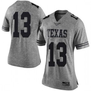 Women Texas Longhorns Jase Febres #13 Limited Gray Football Jersey 158322-559