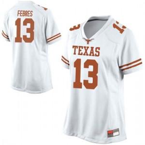 Women Texas Longhorns Jase Febres #13 Replica White Football Jersey 163125-177