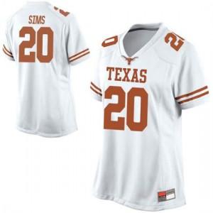 Women Texas Longhorns Jericho Sims #20 Replica White Football Jersey 176093-952