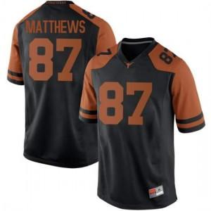 Men Texas Longhorns Joshua Matthews #87 Replica Black Football Jersey 911080-825