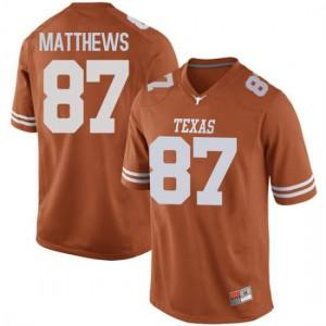 Men Texas Longhorns Joshua Matthews #87 Replica Orange Football Jersey 141038-854