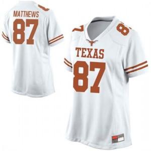 Women Texas Longhorns Joshua Matthews #87 Replica White Football Jersey 789613-643