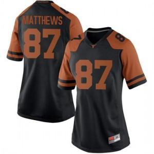 Women Texas Longhorns Joshua Matthews #87 Replica Black Football Jersey 470042-748