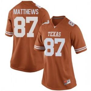 Women Texas Longhorns Joshua Matthews #87 Replica Orange Football Jersey 320706-173