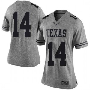 Women Texas Longhorns Joshua Moore #14 Limited Gray Football Jersey 311310-321