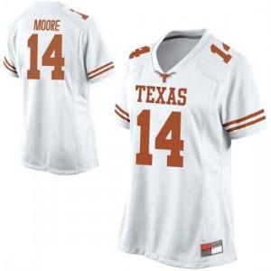 Women Texas Longhorns Joshua Moore #14 Replica White Football Jersey 483178-671