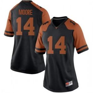 Women Texas Longhorns Joshua Moore #14 Replica Black Football Jersey 602059-628