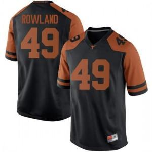 Men Texas Longhorns Joshua Rowland #49 Replica Black Football Jersey 610501-538