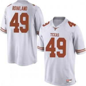 Men Texas Longhorns Joshua Rowland #49 Replica White Football Jersey 382792-751