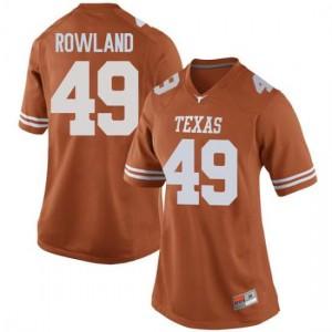Women Texas Longhorns Joshua Rowland #49 Game Orange Football Jersey 316970-755