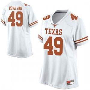 Women Texas Longhorns Joshua Rowland #49 Replica White Football Jersey 457030-645