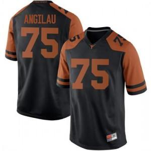 Men Texas Longhorns Junior Angilau #75 Replica Black Football Jersey 649873-156