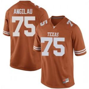 Men Texas Longhorns Junior Angilau #75 Replica Orange Football Jersey 391931-859