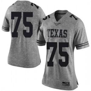 Women Texas Longhorns Junior Angilau #75 Limited Gray Football Jersey 822198-282