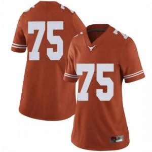 Women Texas Longhorns Junior Angilau #75 Limited Orange Football Jersey 975562-485