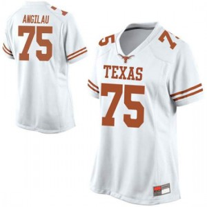 Women Texas Longhorns Junior Angilau #75 Replica White Football Jersey 900071-566