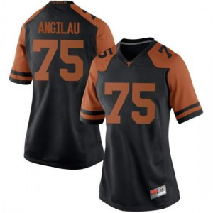 Women Texas Longhorns Junior Angilau #75 Replica Black Football Jersey 341092-769