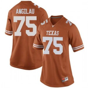 Women Texas Longhorns Junior Angilau #75 Replica Orange Football Jersey 901732-544