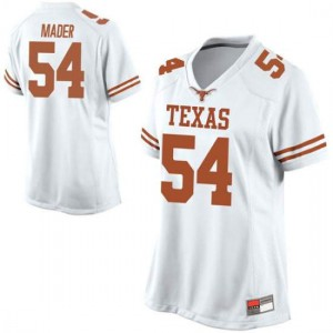Women Texas Longhorns Justin Mader #54 Replica White Football Jersey 643486-959