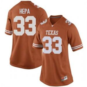 Women Texas Longhorns Kamaka Hepa #33 Game Orange Football Jersey 846778-732