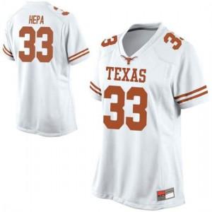 Women Texas Longhorns Kamaka Hepa #33 Replica White Football Jersey 921719-316