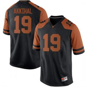 Men Texas Longhorns Kartik Akkihal #19 Replica Black Football Jersey 940562-887