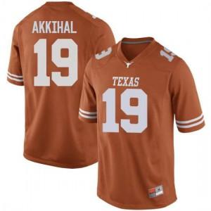 Men Texas Longhorns Kartik Akkihal #19 Replica Orange Football Jersey 261519-133
