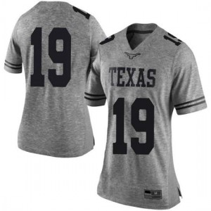 Women Texas Longhorns Kartik Akkihal #19 Limited Gray Football Jersey 860096-610