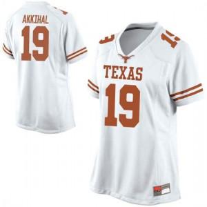 Women Texas Longhorns Kartik Akkihal #19 Replica White Football Jersey 775688-786