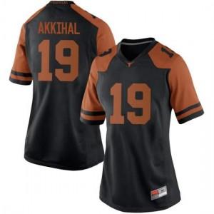 Women Texas Longhorns Kartik Akkihal #19 Replica Black Football Jersey 818246-603