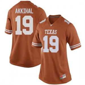 Women Texas Longhorns Kartik Akkihal #19 Replica Orange Football Jersey 157014-824