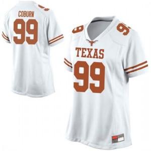 Women Texas Longhorns Keondre Coburn #99 Replica White Football Jersey 832685-454