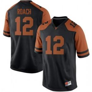 Men Texas Longhorns Kerwin Roach II #12 Replica Black Football Jersey 277041-937