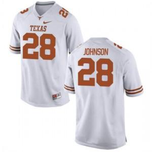 Men Texas Longhorns Kirk Johnson #28 Authentic White Football Jersey 134058-916
