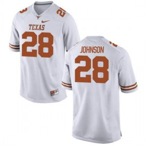 Women Texas Longhorns Kirk Johnson #28 Replica White Football Jersey 218197-124