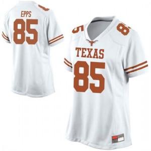 Women Texas Longhorns Malcolm Epps #85 Replica White Football Jersey 921329-230