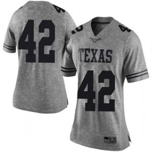Women Texas Longhorns Marqez Bimage #42 Limited Gray Football Jersey 406332-760