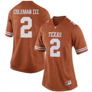 Women Texas Longhorns Matt Coleman III #2 Game Orange Football Jersey 162441-123