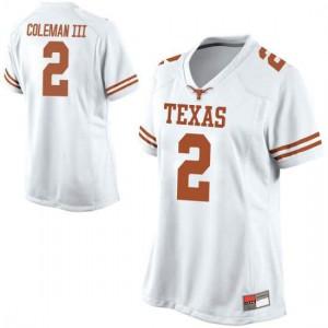 Women Texas Longhorns Matt Coleman III #2 Replica White Football Jersey 476564-173