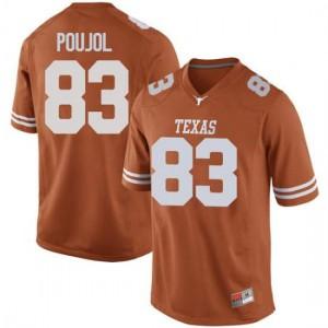 Men Texas Longhorns Michael David Poujol #83 Game Orange Football Jersey 220828-480