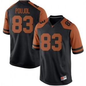 Men Texas Longhorns Michael David Poujol #83 Replica Black Football Jersey 150728-397