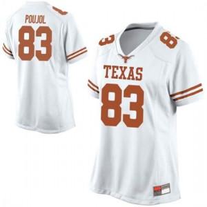 Women Texas Longhorns Michael David Poujol #83 Replica White Football Jersey 728642-250