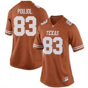 Women Texas Longhorns Michael David Poujol #83 Replica Orange Football Jersey 483427-683