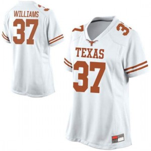 Women Texas Longhorns Michael Williams #37 Replica White Football Jersey 919429-241