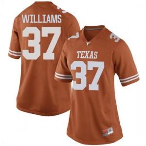 Women Texas Longhorns Michael Williams #37 Replica Orange Football Jersey 836340-871